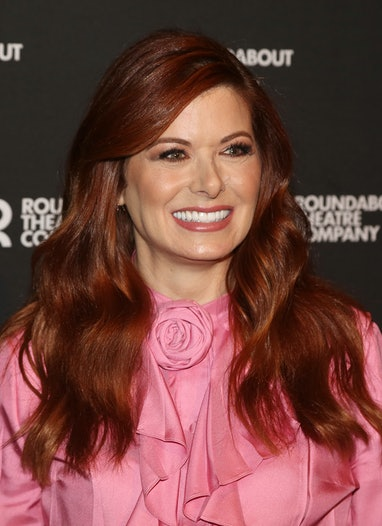 """NEW YORK, NEW YORK - MARCH 12: Debra Messing poses at a photo call for the upcoming new play """"Birthd..."""