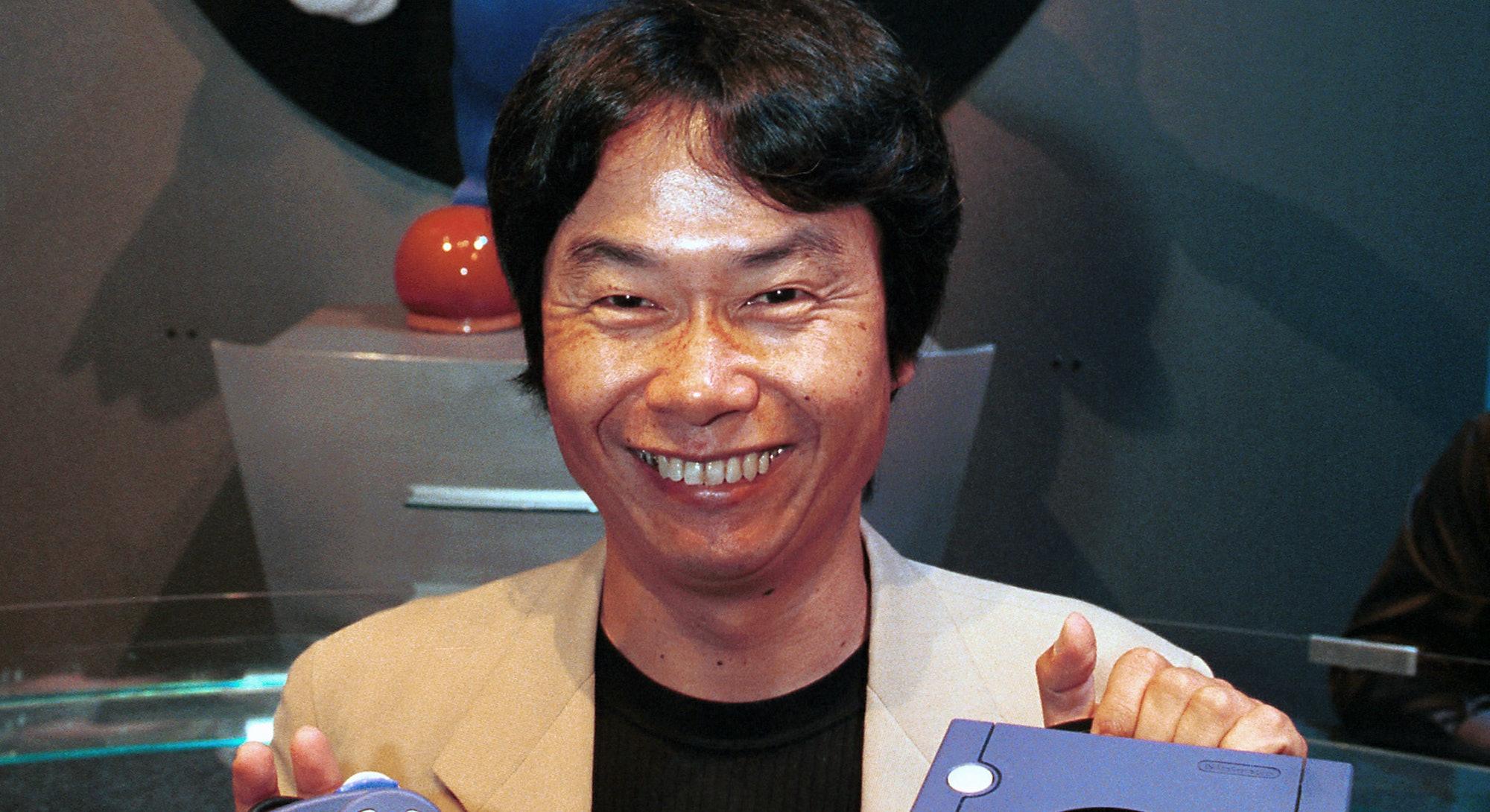 LOS ANGELES, CALIFORNIA - MAY 18: Shigeru Miyamoto, Founder of Nintendo Mario with new Nintendo Cube...