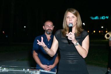 "MIAMI BEACH, FL - NOVEMBER 30: Commissioner Kristen Rosen Gonzalez speaks at Ugo Rondinone's ""Miami ..."