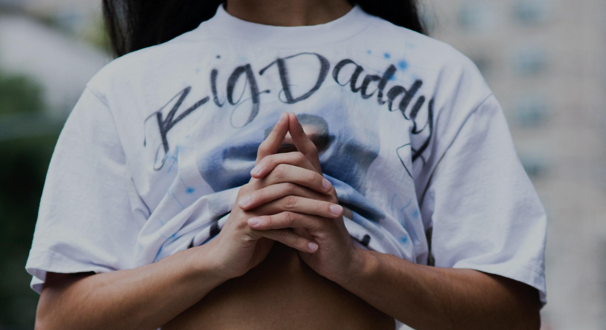 NEW YORK, NEW YORK - SEPTEMBER 09: Jeffrey Prada wearing white jeans with spray paint and white t-sh...