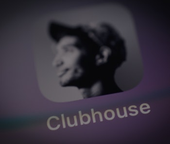 The Clubhouse application is seen on an iPhone screen in this photo illustration in Warsaw, Poland o...