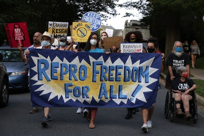 """Pro-choice demonstrators march with a sign reading, """"Repro Freedom For All""""/"""