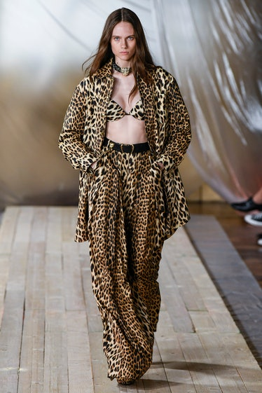 MILAN, ITALY - SEPTEMBER 22: A model walks the runway during the Roberto Cavalli Ready to Wear Sprin...