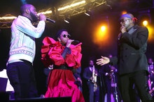 NEW YORK, NEW YORK - SEPTEMBER 22: Pras, Lauryn Hill and Wyclef Jean of The Fugees perform at Global...