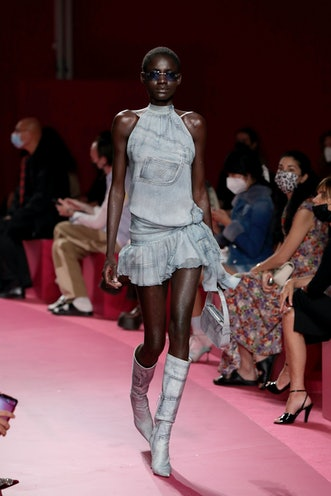 MILAN, ITALY - SEPTEMBER 23: A model walks the runway at the Blumarine fashion show during the Milan...