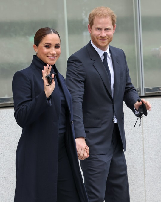 NEW YORK, NEW YORK - SEPTEMBER 23: Prince Harry, Duke of Sussex, and Meghan, Duchess of Sussex, visi...