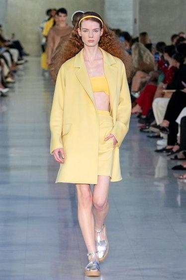 MILAN, ITALY - SEPTEMBER 23: A model walks the runway at the Max Mara fashion show during the Milan ...