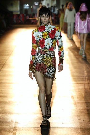 MILANO, ITALY – SEPTEMBER 23: A model walks the runway during the Etro fashion show during Milan Wom...