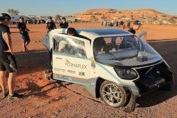COOBER PEDY, AUSTRALIA - OCTOBER 16: The Cambridge University Eco Racing car 'Helia' from the United...
