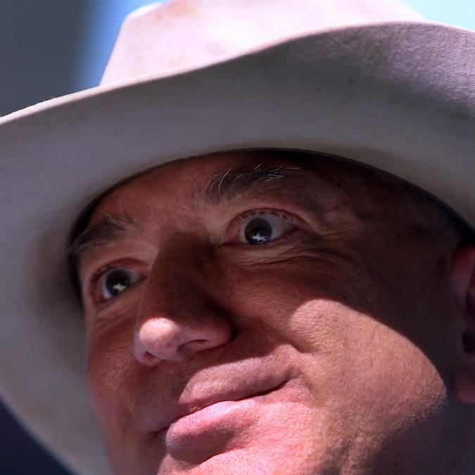VAN HORN, TEXAS - JULY 20: Jeff Bezos speaks about his flight on Blue Origin's New Shepard into spac...