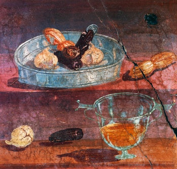 Still life with garlic, dates and honey, two gold and silver coins between the fruit, wall painting ...
