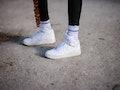 PARIS, FRANCE - APRIL 06: Emy Venturini @sustainably_by_emy wears black sportswear leggings from Ame...