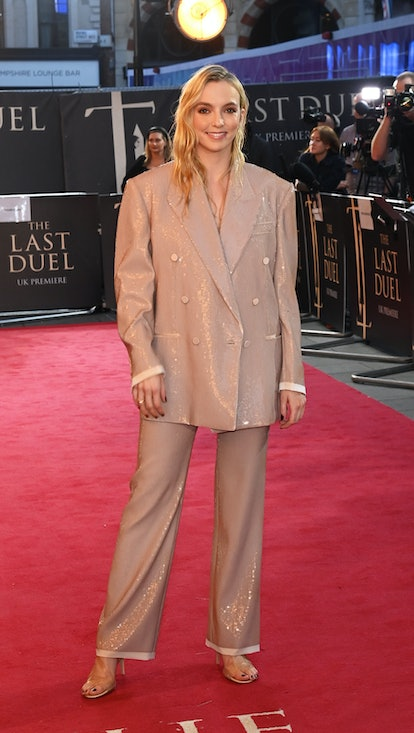 """LONDON, ENGLAND - SEPTEMBER 23: Jodie Comer attends the UK Premiere of """"The Last Duel"""" at Odeon Luxe..."""
