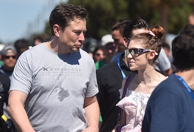 SpaxeX founder Elon Musk (L) and Canadian musician Grimes (Claire Boucher) attend the 2018 Space X H...