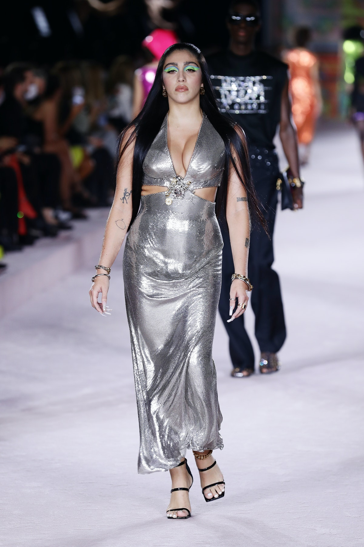 MILAN, ITALY - SEPTEMBER 24: Lourdes Maria Ciccone Leon walks the runway at the Versace fashion show...