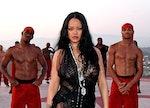 Rihanna in a black dress at the Savage X Fenty Show Vol. 3.