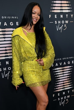 Rihanna attends the red carpet event for her Savage X Fenty Show Vol. 3 at The Westin Bonaventure Ho...