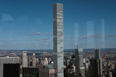 NEW YORK, NEW YORK - MARCH 04:  The private residence 432 Park Avenue towers above office buildings ...