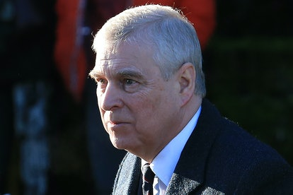 Britain's Prince Andrew, Duke of York, arrives to attend a church service at St Mary the Virgin Chur...