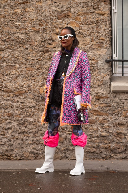 Michelle Elie is seen on the street during Paris Fashion Week AW19 wearing pink/blue leopard print p...