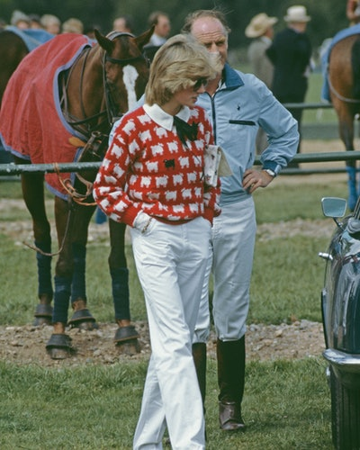 Diana, Princess of Wales  (1961 - 1997) with Major Ronald Ferguson (1931 - 2003) at a polo match at ...