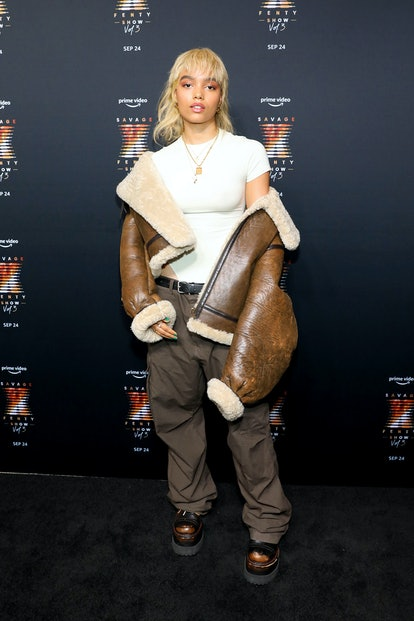 NEW YORK, NEW YORK - SEPTEMBER 22: Whitney Peak attends the premiere of Rihanna's Savage X Fenty Sho...