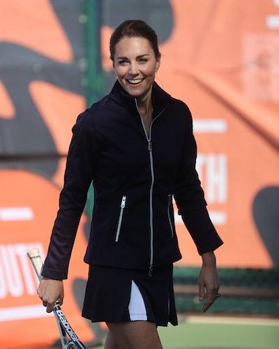 Duchess of Cambridge Kate Middleton wears Poivre Blanc track jacket and skort looks to meet 2021 U.S...