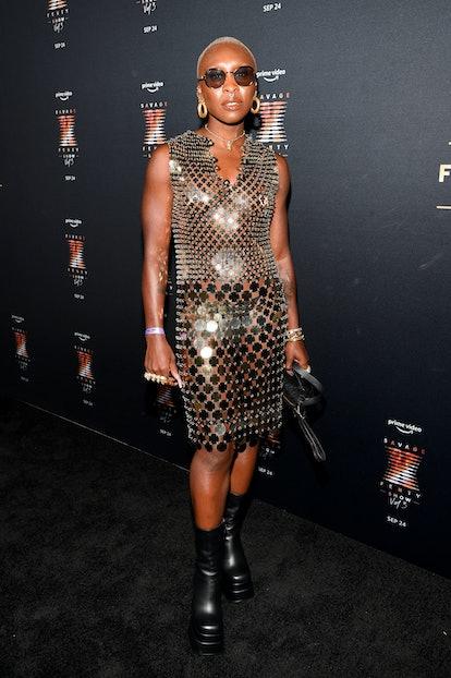 NEW YORK, NEW YORK - SEPTEMBER 22: Cynthia Erivo attends the premiere of Rihanna's Savage X Fenty Sh...