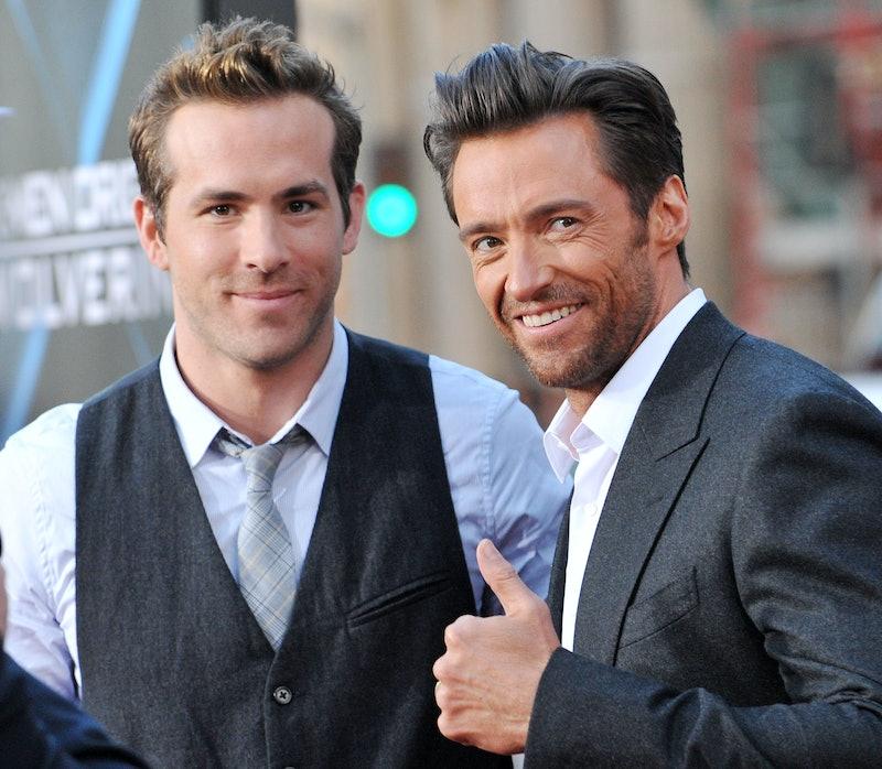HOLLYWOOD - APRIL 28:  Actor Ryan Reynolds (L) and actor Hugh Jackman arrive at the Los Angeles Indu...
