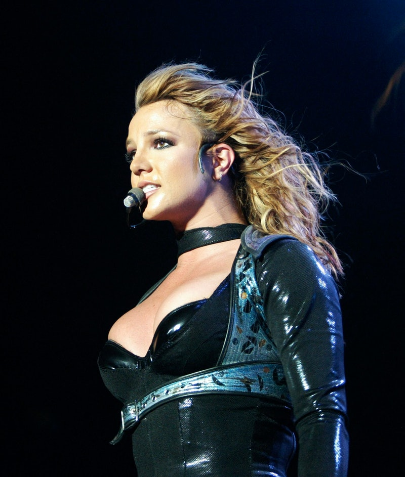 US singer Britney Spears performs at the Globe Arena in Stockholm, 11 May 2004 during her 'The Onyx ...