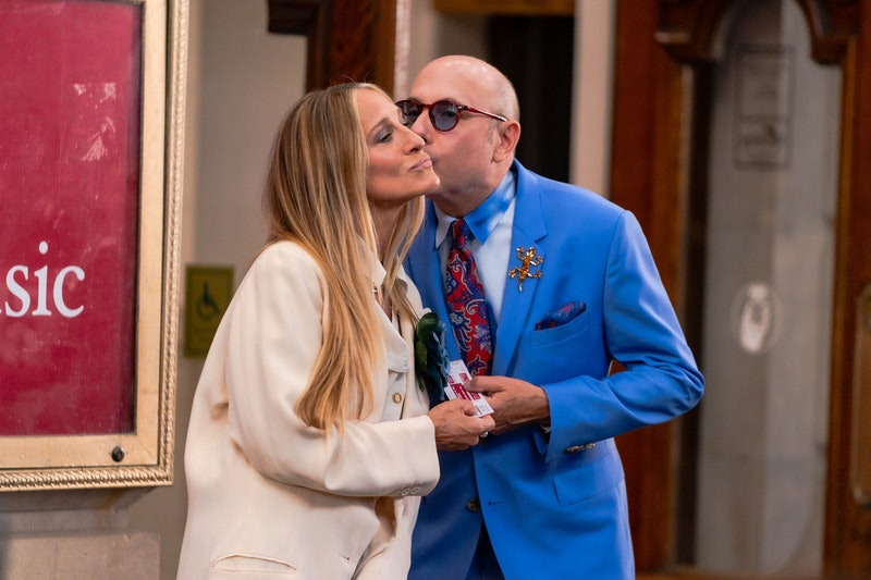 """NEW YORK, NEW YORK - JULY 23: Sarah Jessica Parker (L) and Willie Garson are seen filming """"And Just ..."""