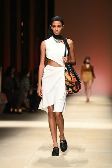 MILAN, ITALY - SEPTEMBER 25: A model walks the runway at the Salvatore Ferragamo fashion show during...