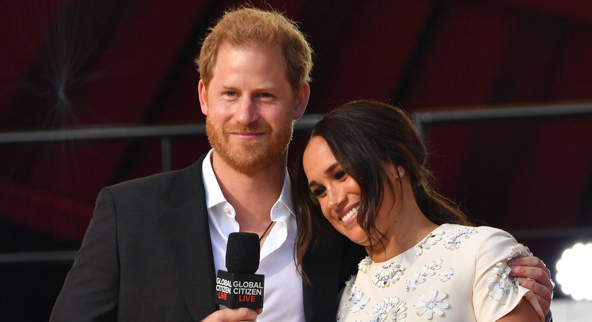 NEW YORK, NY - SEPTEMBER 25:  Prince Harry and Meghan Markle at Global Citizen Live on September 25,...