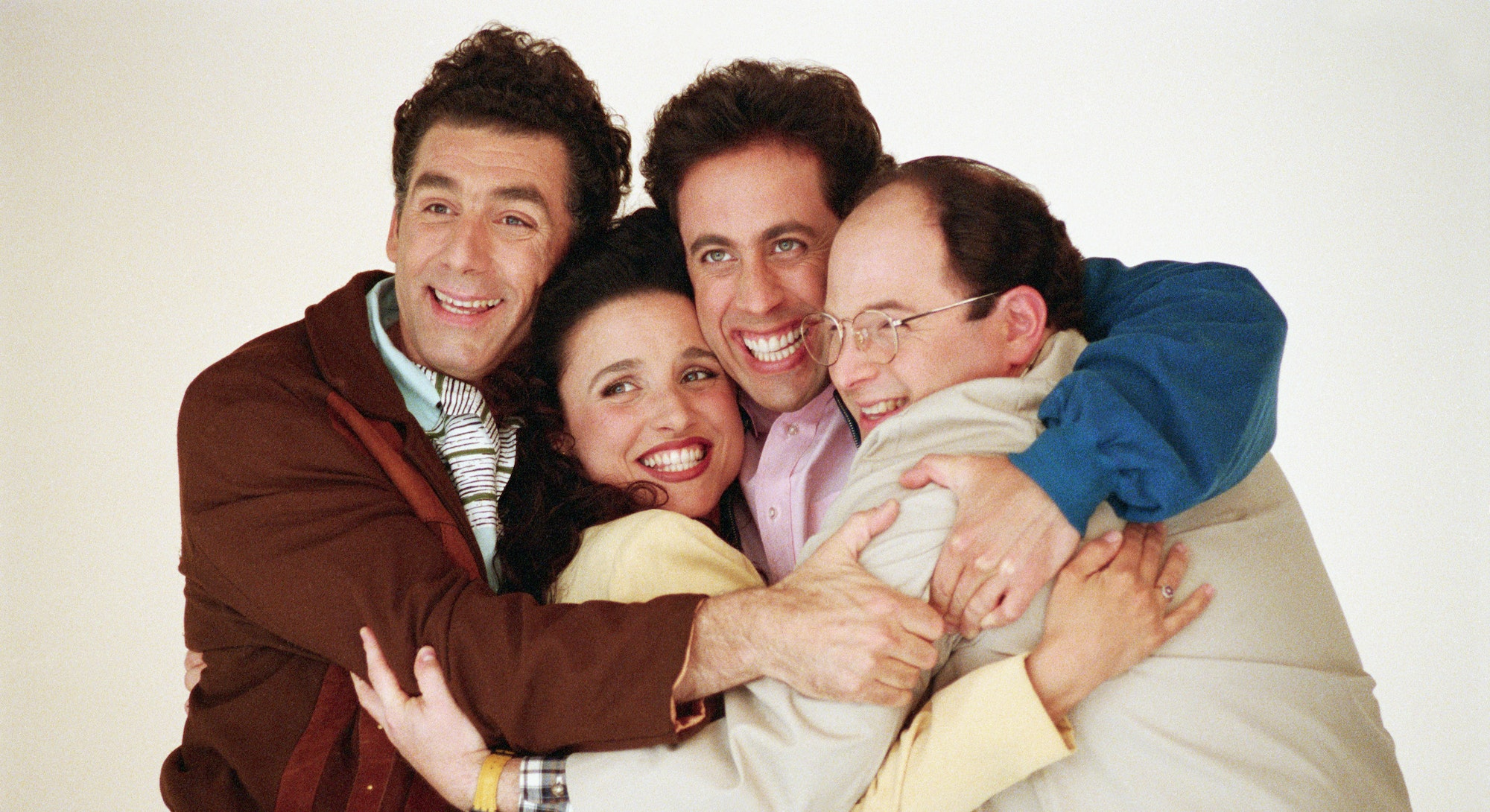 The cast of Seinfeld poses for a promotional image during the '90s sitcom's run.