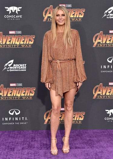 HOLLYWOOD, CA - APRIL 23:  Actress Gwyneth Paltrow attends the premiere of Disney and Marvel's 'Aven...