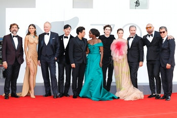 VENICE, ITALY - SEPTEMBER 03, 2021: Javier Bardem, Zendaya, Stellan Skarsgard, Chang Chen, Oscar Isa...