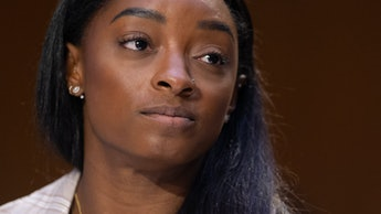 US Olympic gymnast Simone Biles testifies during a Senate Judiciary hearing about the Inspector Gene...