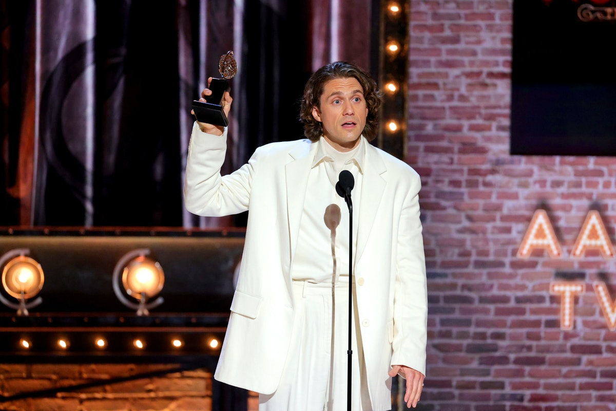 NEW YORK, NEW YORK - SEPTEMBER 26: Aaron Tveit accepts the award for Best Performance by an Actor in...