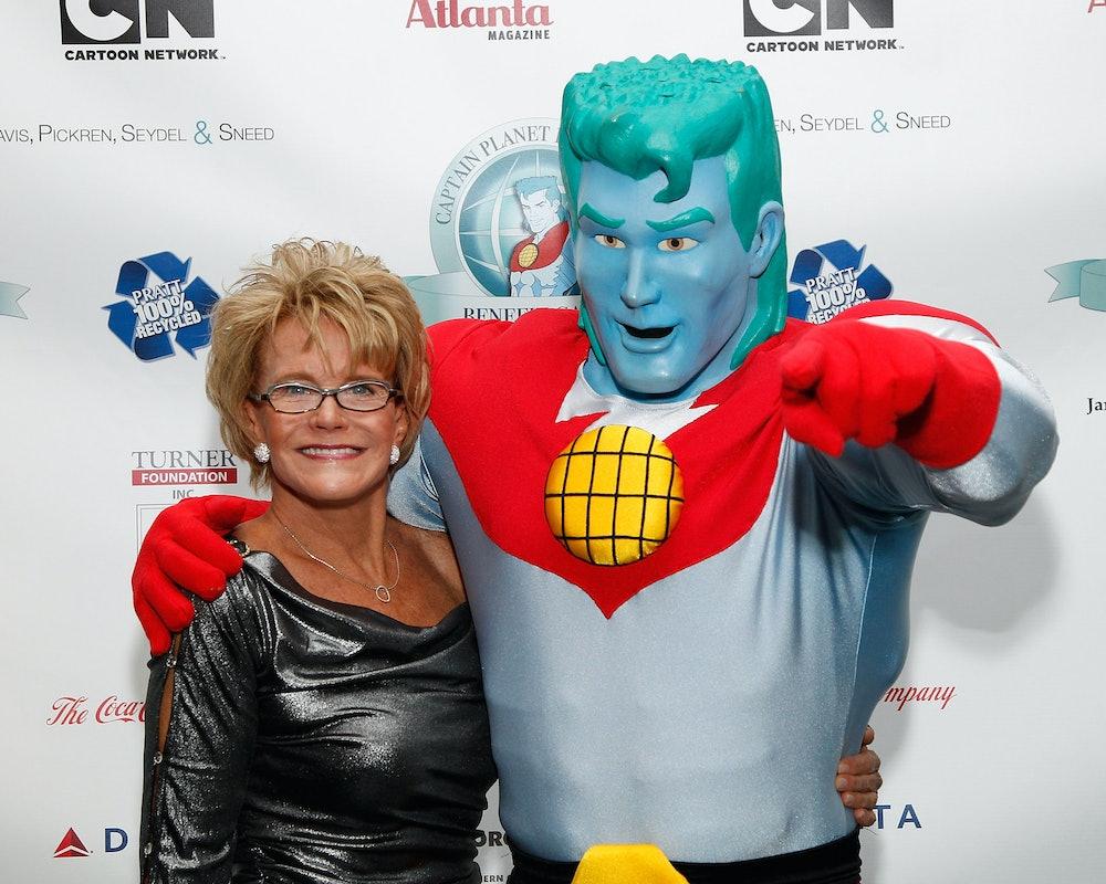 ATLANTA, GA - DECEMBER 09:  Captain Planet Founder Barbara Pyle and Captain Planet attend the Captai...