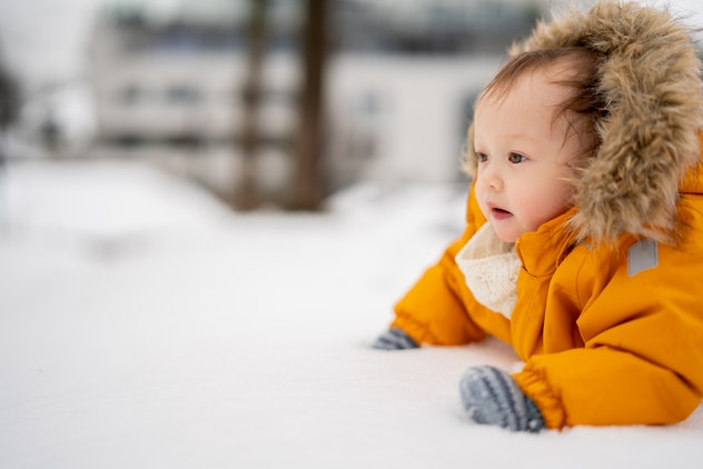 baby girl in the snow