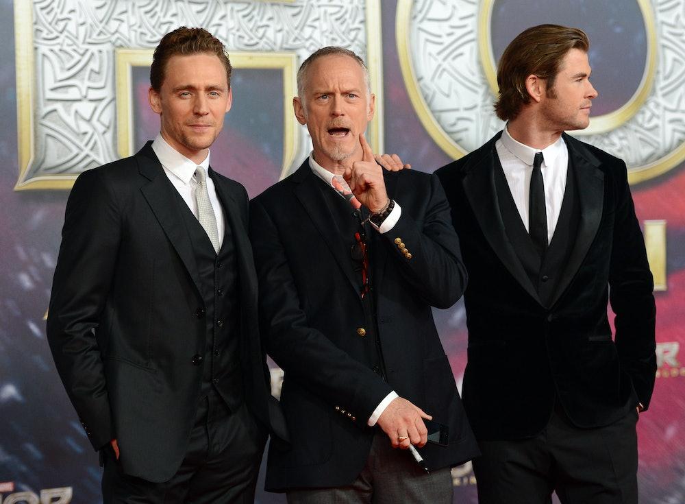 Cast members British actor  Tom Hiddleston (L-R), US director Alan Taylor and Australian actor  Chri...
