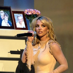 Britney Spears performs at the 29th American Music Awards in 2002.
