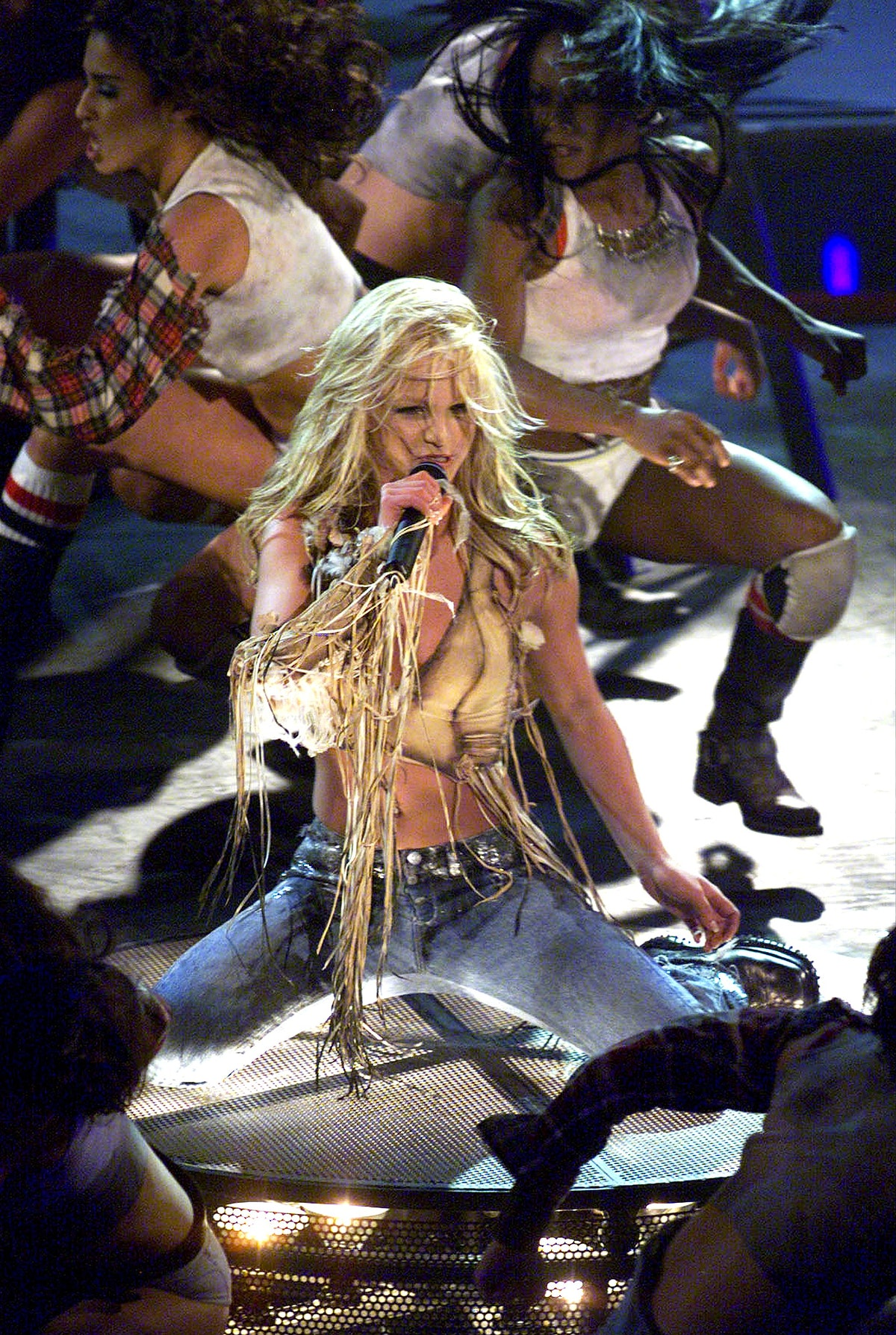 """383938 26: Singer Britney Spears performs the song """"Stronger"""" during the 28th Annual American Music ..."""