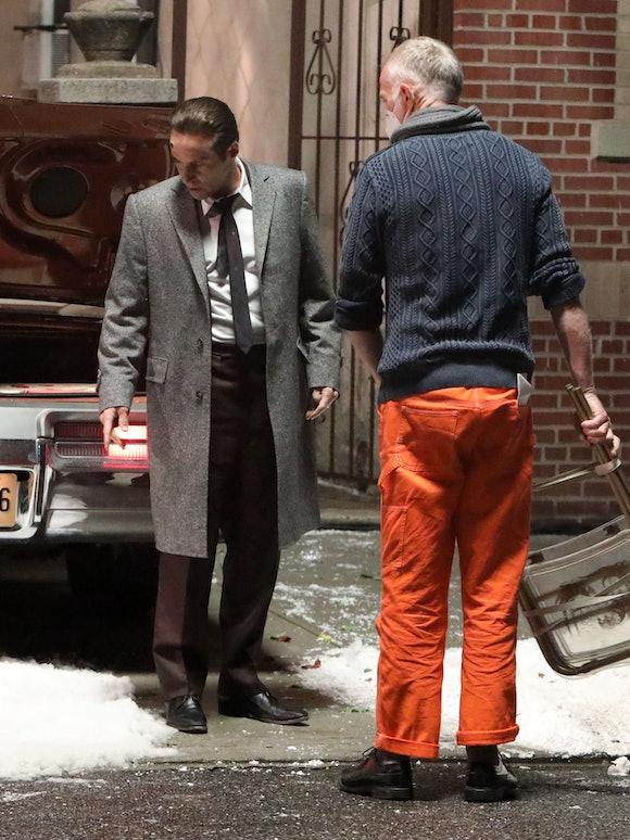 """NEW YORK, NY - SEPTEMBER 19: Alessandro Nivola and Alan Taylor are seen on the set of """"The Many Sain..."""