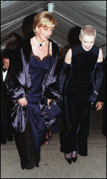 NEW YORK, UNITED STATES:  Diana Princess of Wales (left) with her close friend, Liz Tilberis arrive ...