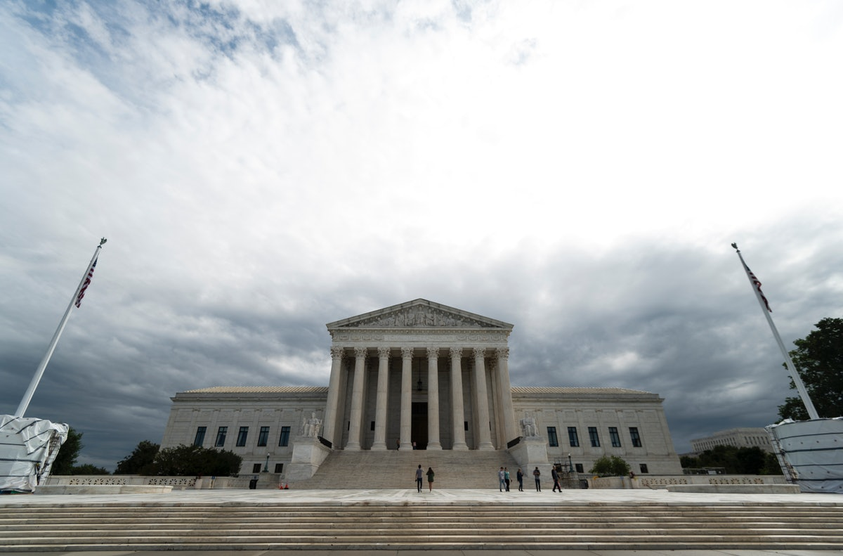 UNITED STATES - SEPTEMBER 23: Storm clouds hang over the U.S. Supreme Court building in Washington o...