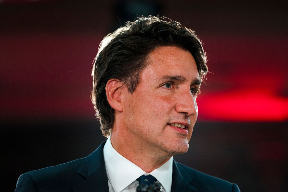Canadian Prime Minister Justin Trudeau delivers his victory speech after general elections at the Fa...