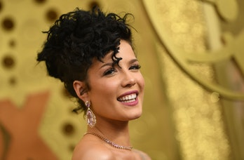 US singer Halsey arrives for the 71st Emmy Awards at the Microsoft Theatre in Los Angeles on Septemb...