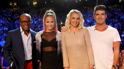 Judges L.A. Reid, Demi Lovato, Britney Spears and Simon Cowell on The X Factor Season 2.