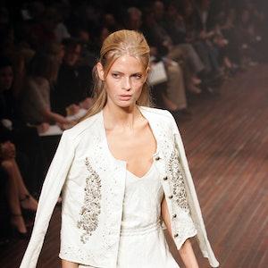 Julia Stegner wearing Lanvin during Paris Fashion Week Ready to Wear Spring / Summer 2005 at Carrous...